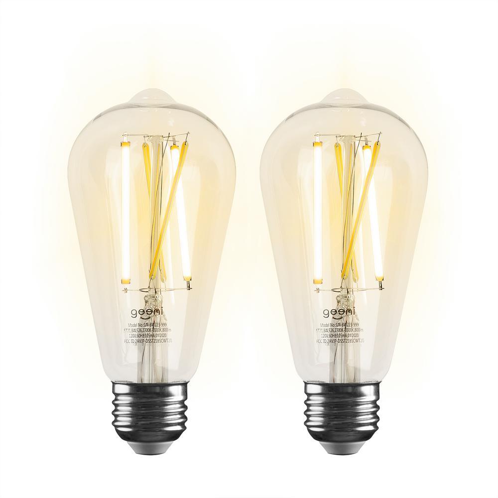 Geeni 60 Watt Equivalent E26 St21 St64 Edison Wifi Led Smart Bulb 2700k 6500k No Hub Required 2 Pack Gn Bw223 999 The Home Depot