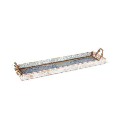36.1 in. L x 10 in. W x 2.4 in. H Wood and Metal Tray with School of Fish and Rope Wrapped Handles