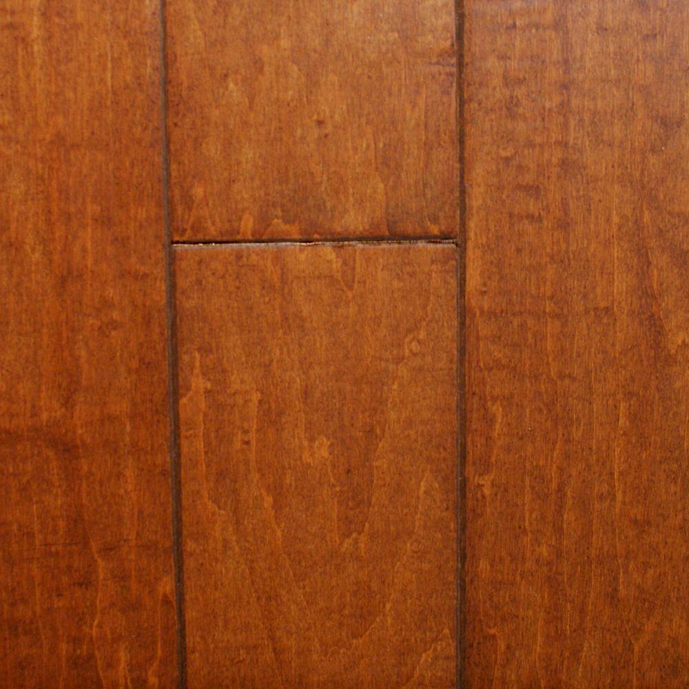Millstead Take Home Sample - Hand Scraped Maple Spice Engineered Click Hardwood Flooring - 5 in. x 7 in.