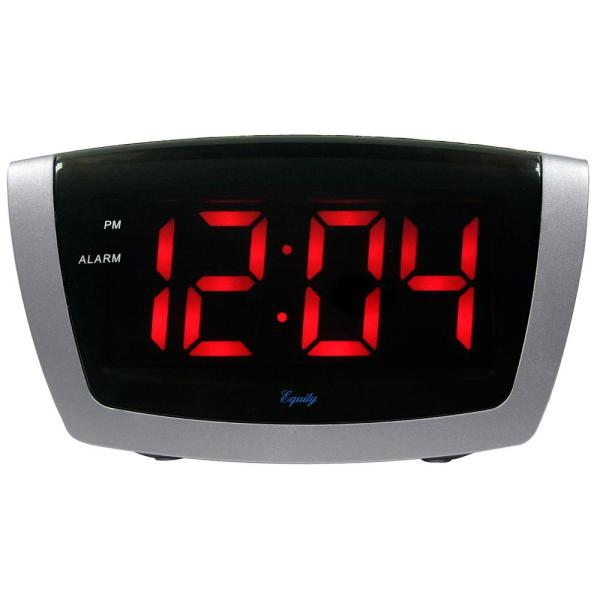 7.25 in. x 3.9 in. Red LED Alarm Clock with HI/LO Dimmer