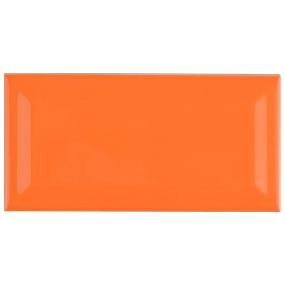 Merola Tile Park Slope Beveled Subway Tangerine Orange 3 in. x 6 in. Ceramic Wall Tile (36 cases / 690.48 sq. ft. / pallet)
