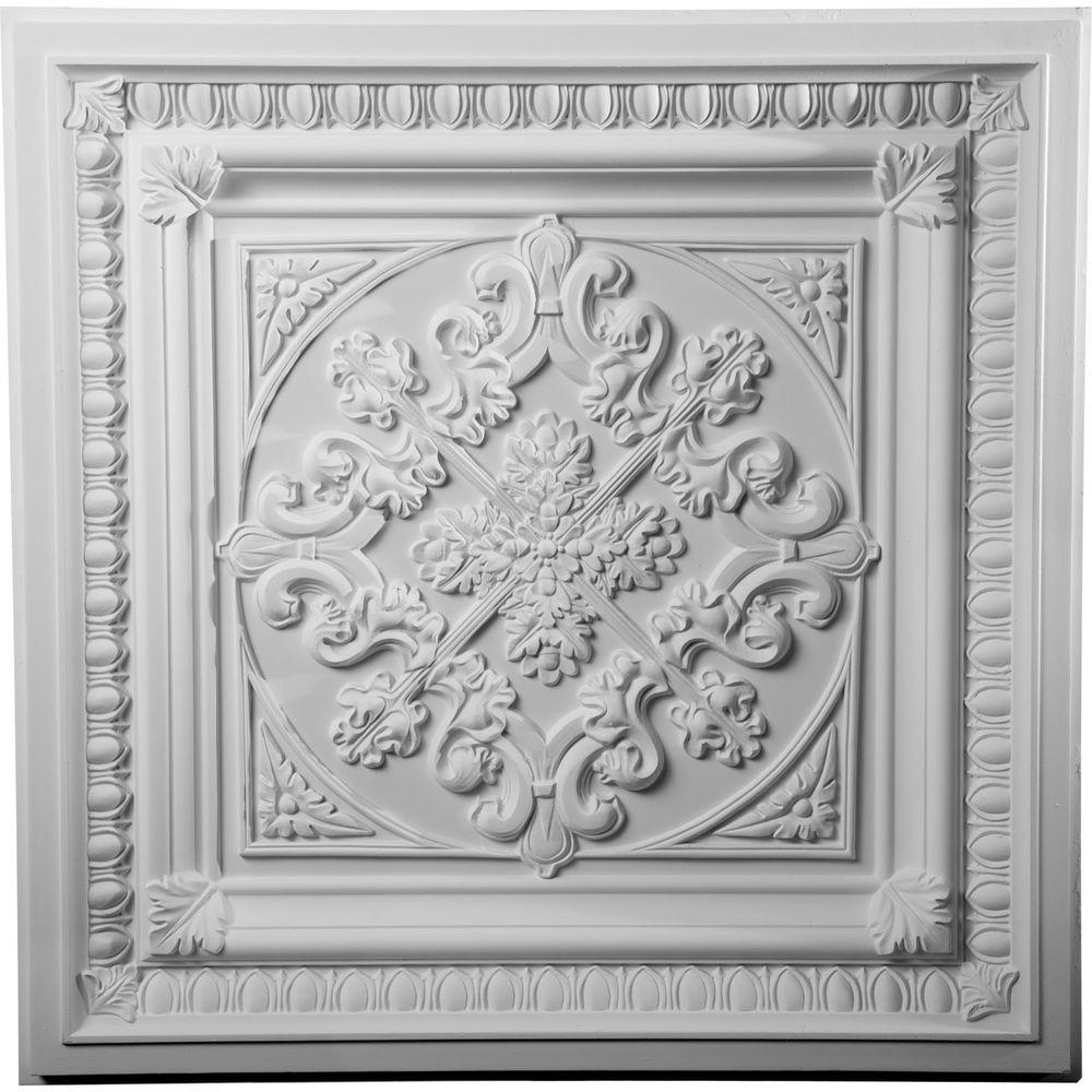Ekena millwork 2 38 in x 24 in polyurethane edwards ceiling tile polyurethane edwards ceiling tile ct24x24ed the home depot dailygadgetfo Image collections