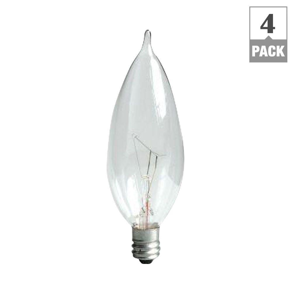 GE 60-Watt Incandescent CA10 Bent Tip Decorative Candelabra Base Double Life Clear Light Bulb (4-Pack)