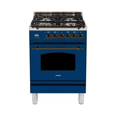 24 in. 2.4 cu. ft. Single Oven Italian Gas Range with True Convection, 4 Burners, LP Gas, Bronze Trim in Blue