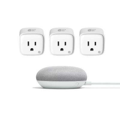 Commercial Electric Wi-Fi Smart Plug and Google Home Mini in Chalk
