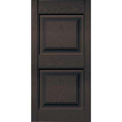 15 in. x 31 in. Raised Panel Vinyl Exterior Shutters Pair in #010 Musket Brown
