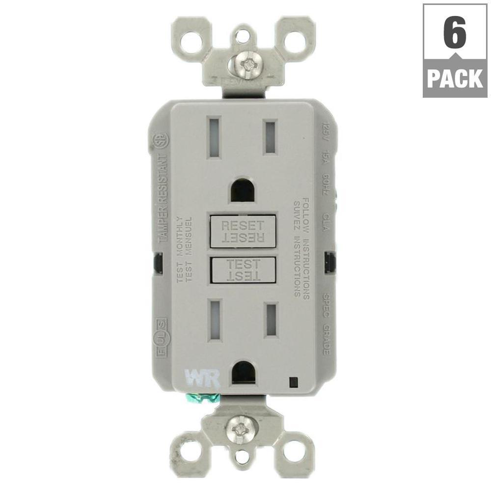 15 Amp 125-Volt Duplex Self-Test Tamper Resistant/Weather Resistant GFCI Outlet, Gray (6-Pack)