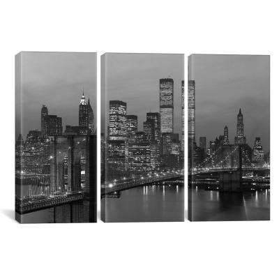 1980s New York City Lower Manhattan Skyline Brooklyn Bridge by Vintage Images Canvas Wall Art