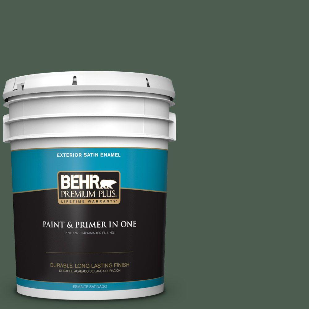 BEHR Premium Plus 5-gal. #450F-7 Hampton Green Satin Enamel Exterior Paint