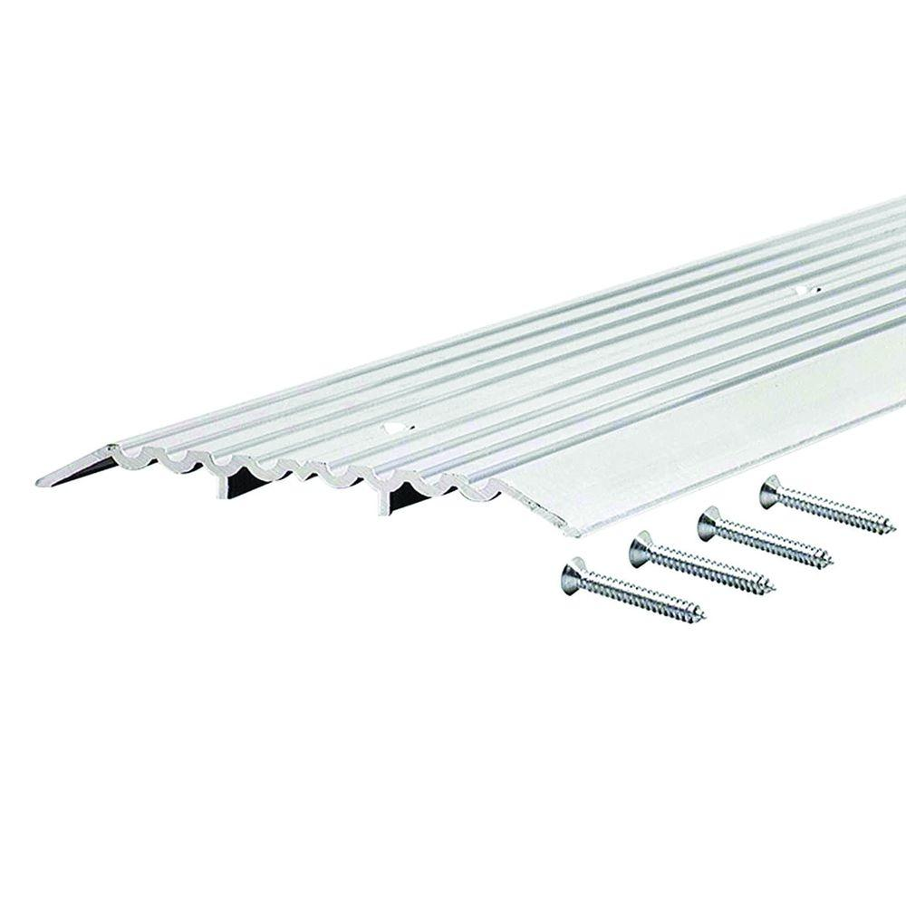 Fluted Top Fixed 6 in. x 73-1/2 in. Aluminum Heavy Duty Commercial Threshold, Grays