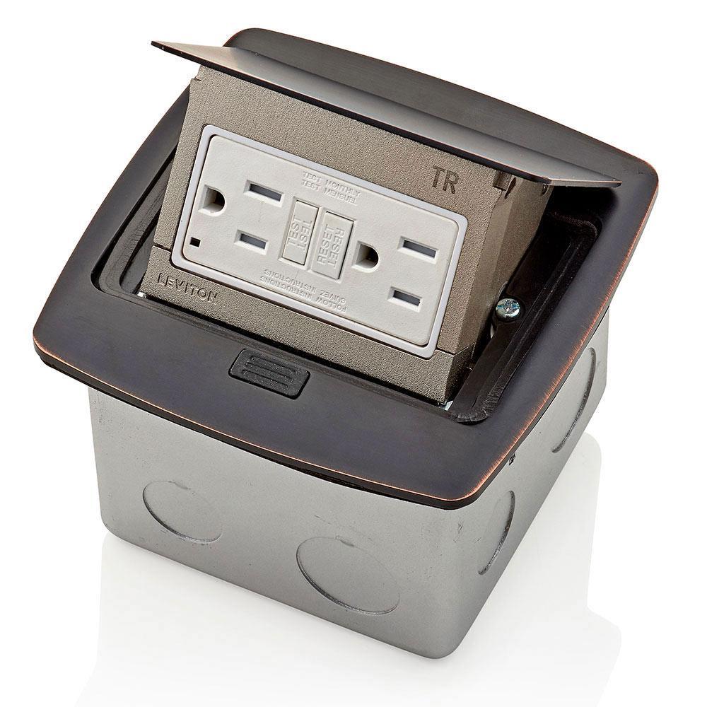 Pop-Up Floor Box with 15 Amp, Tamper-Resistant Self-Test GFCI Outlet, Bronze