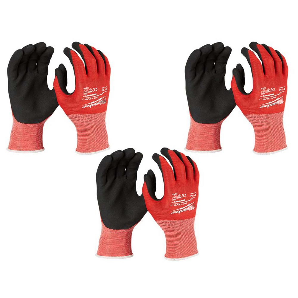 Milwaukee Medium Red Nitrile Dipped Work Gloves (3-Pack)