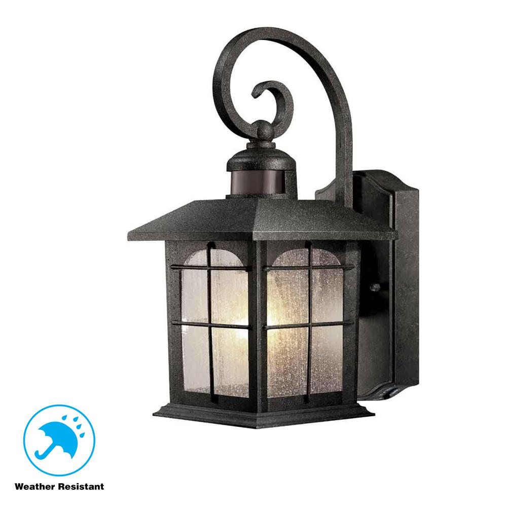 Home decorators collection brimfield 180 1 light aged iron motion sensing outdoor wall lantern hb7251ma 292 the home depot