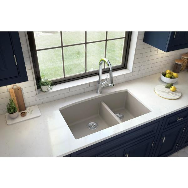 Undermount Quartz Composite 32 in. 60/40 Double Bowl Kitchen Sink in Concrete