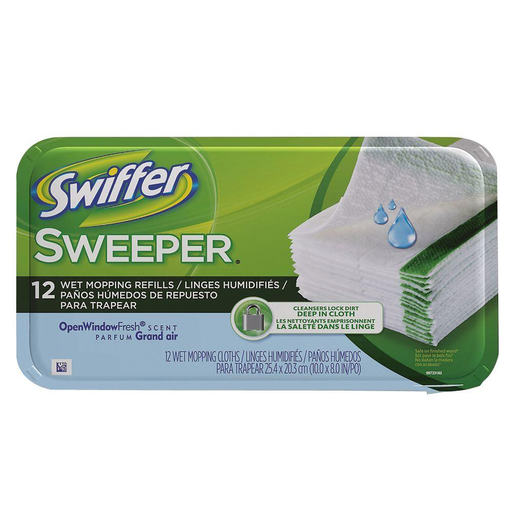 Swiffer Sweeper Wet Cloth Refills with Open Window Fresh Scent (12-Count) (12-Pack)