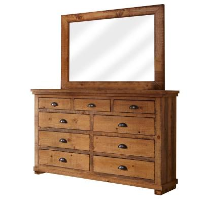 Willow 9-Drawer Distressed Pine Dresser with Mirror