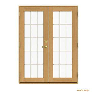 60 in. x 80 in. W-2500 Vanilla Clad Wood Right-Hand 15 Lite French Patio Door w/Stained Interior