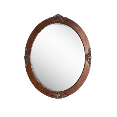 Winslow 30 in. x 37.75 in. Single Framed Wall Mount Mirror in Antique Cherry