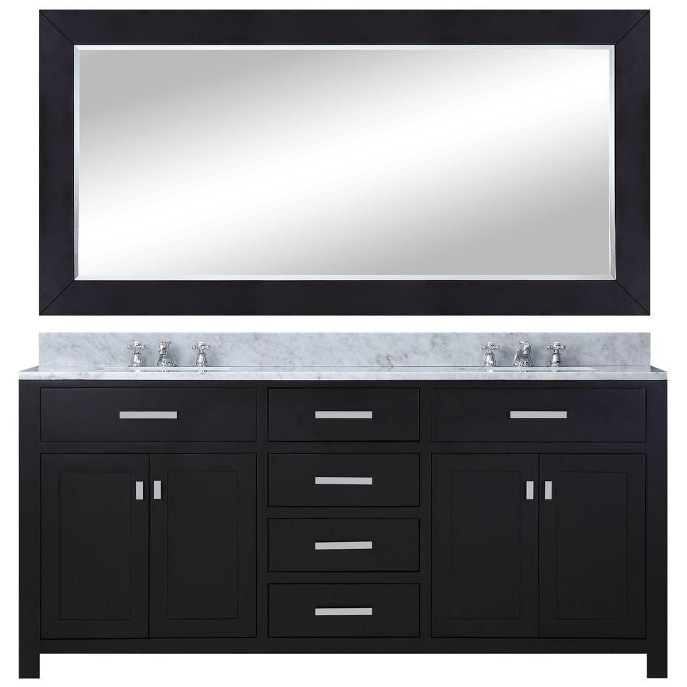 Water Creation 72 in. W x 21 in. D Vanity in Espresso with Marble ...