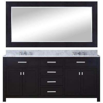 72 in. W x 21 in. D Vanity in Espresso with Marble Vanity Top in Carrara White, Mirror and Chrome Faucets