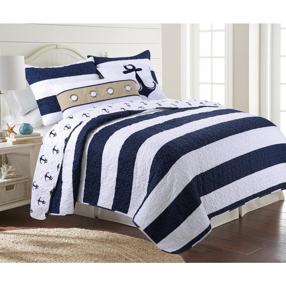 Hallie 3-Piece Navy Twin Quilt Set
