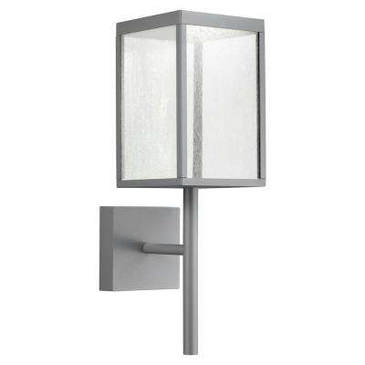 Reveal Medium Rectangle 1-Light Satin Gray LED Outdoor Wall Mount Sconce with Seeded Glass Diffuser