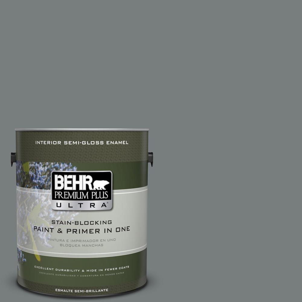 1 gal. #PPU25-18 Shutter Gray Semi-Gloss Enamel Interior Paint