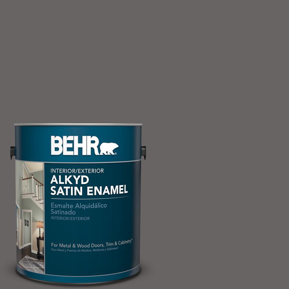 1 gal. #PPU17-19 Arabian Veil Satin Enamel Alkyd Interior/Exterior Paint