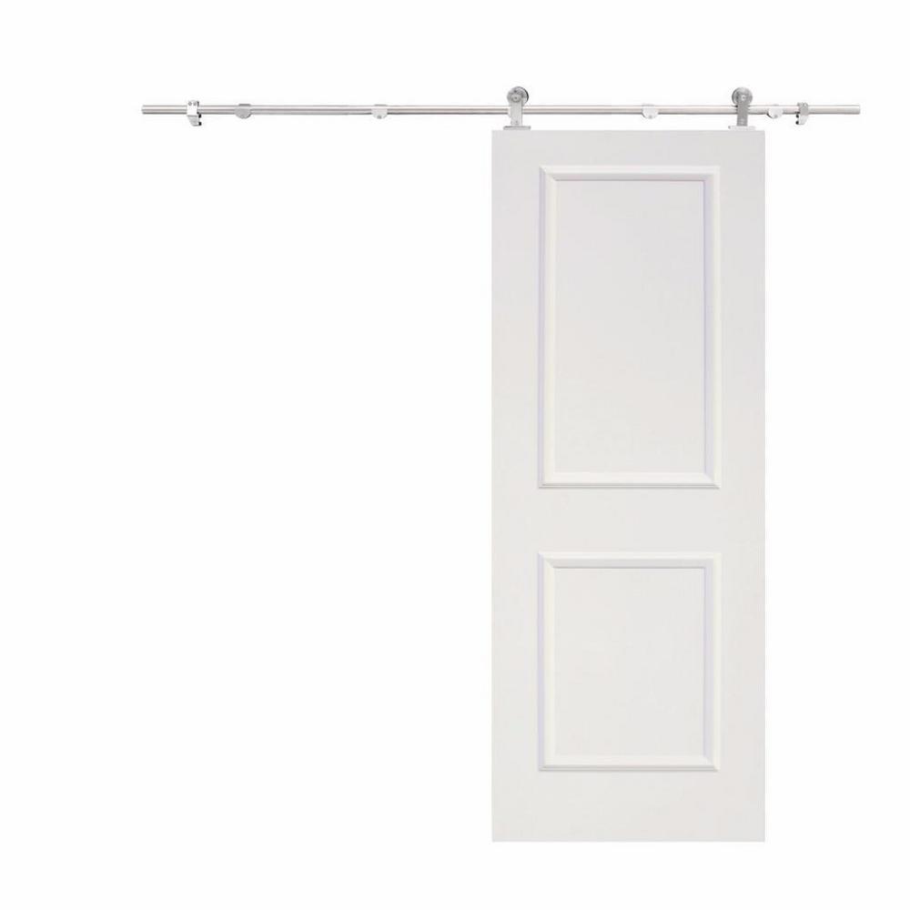 Top Mount Door Track Hardware and White Primed MDF Raised 2 Panel Interior Sliding Barn Door
