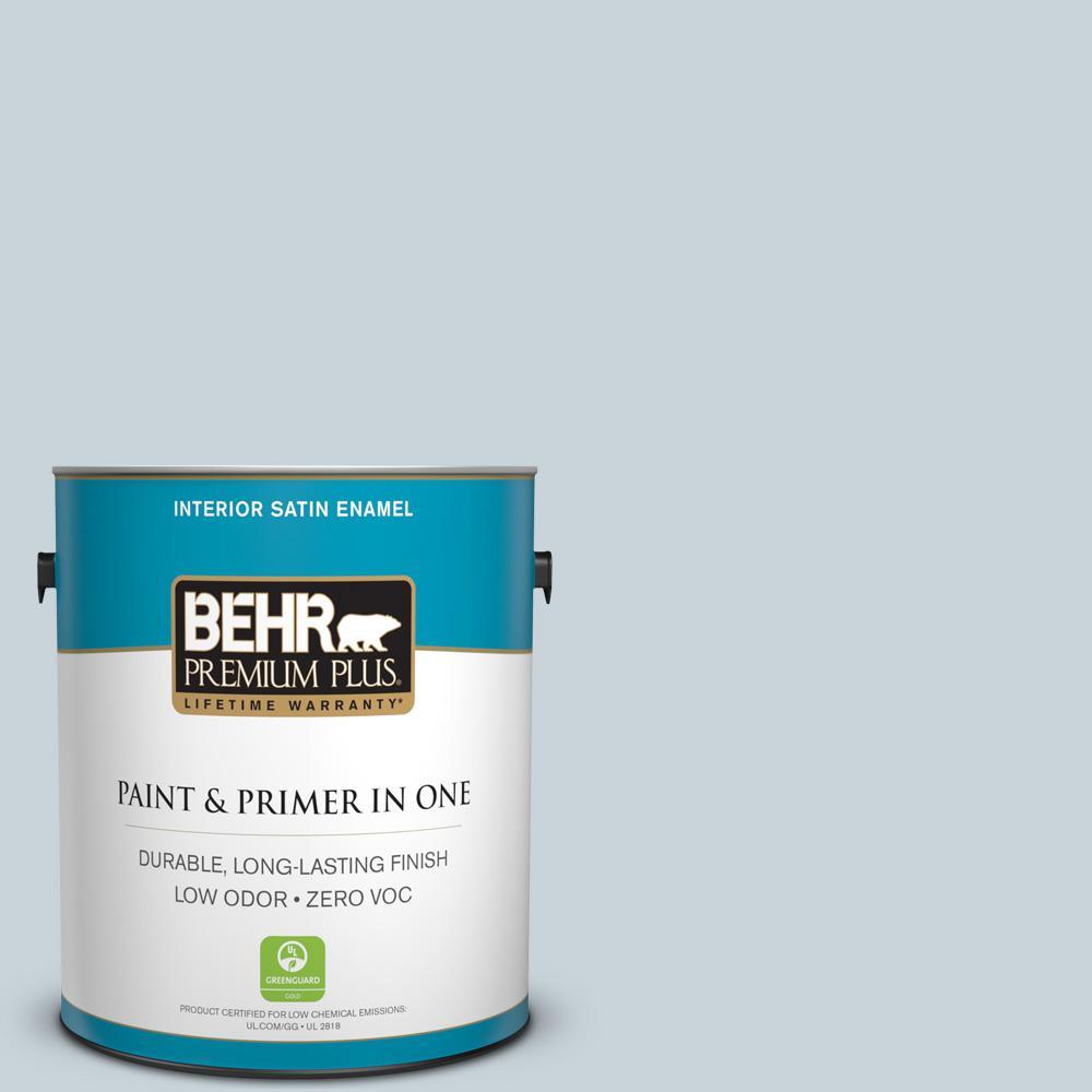 BEHR Premium Plus 1 gal. #N480-1 Light Drizzle Satin Enamel Zero VOC Interior Paint and Primer in One
