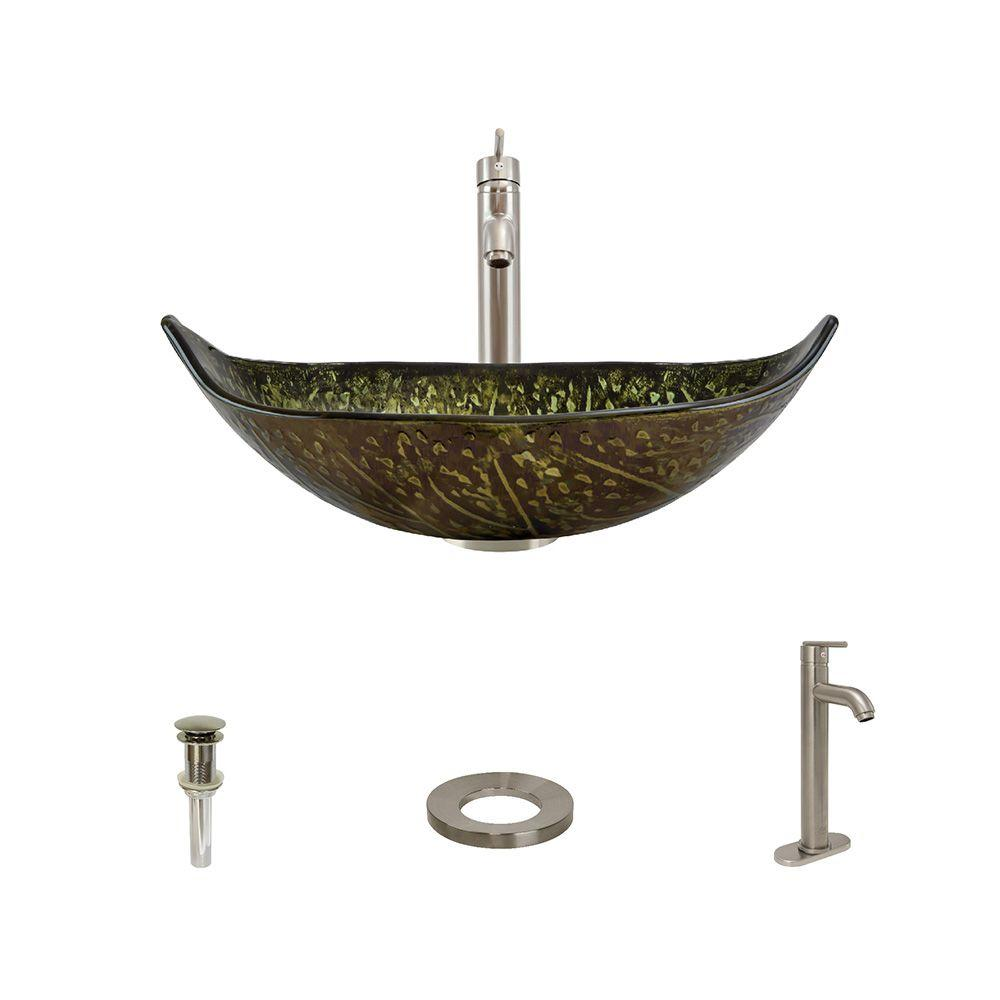 Glass Vessel Sink in Green and Brown Foil Undertone with 718