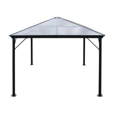 9.84 ft. x 9.84 ft. Black Aluminum-Framed Canopy Gazebo