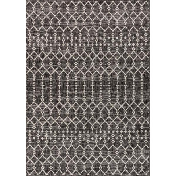 Ourika Moroccan Black/Gray 5 ft. 3 in. x 7 ft. 7 in. Geometric Textured Weave Indoor/Outdoor Area Rug