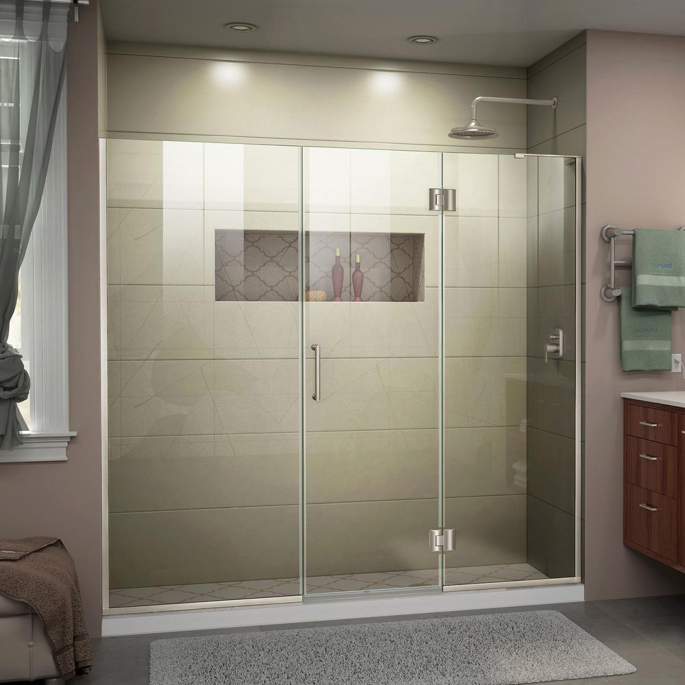 Unidoor-X 63 to 63.5 in. x 72 in. Frameless Hinged Shower Door in Brushed Nickel
