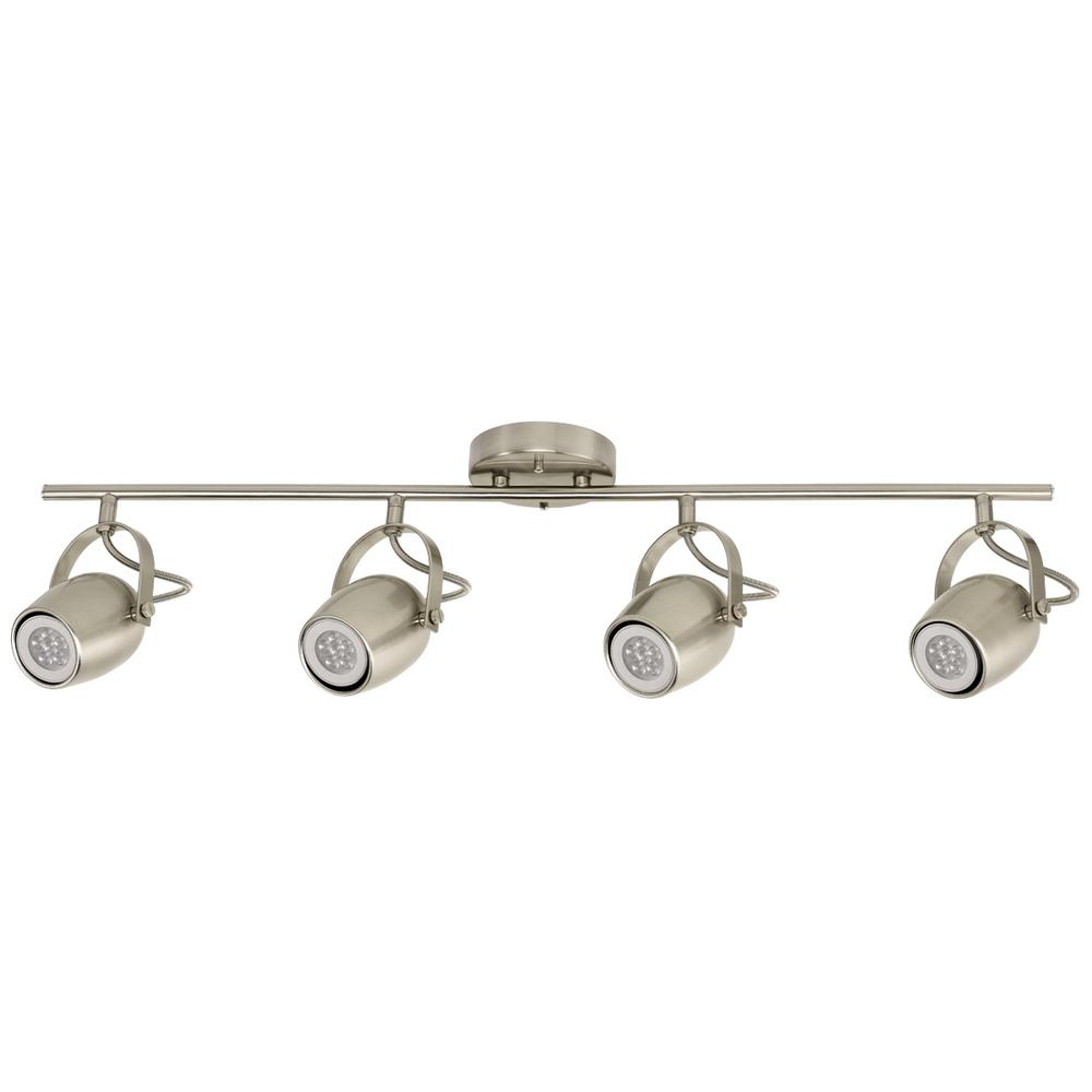 Hampton Bay 2 5 Ft 4 Light Brushed Nickel Track Lighting Kit