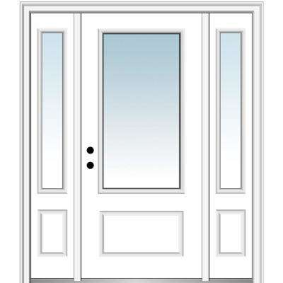 60 in. x 80 in. Classic Right-Hand Inswing 3/4-Lite Clear Primed Fiberglass Smooth Prehung Front Door with Sidelites
