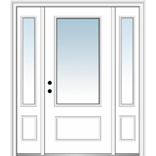 64.5 in. x 81.75 in. Classic Right-Hand Inswing 3/4-Lite Clear Primed Fiberglass Smooth Prehung Front Door w/ Sidelites