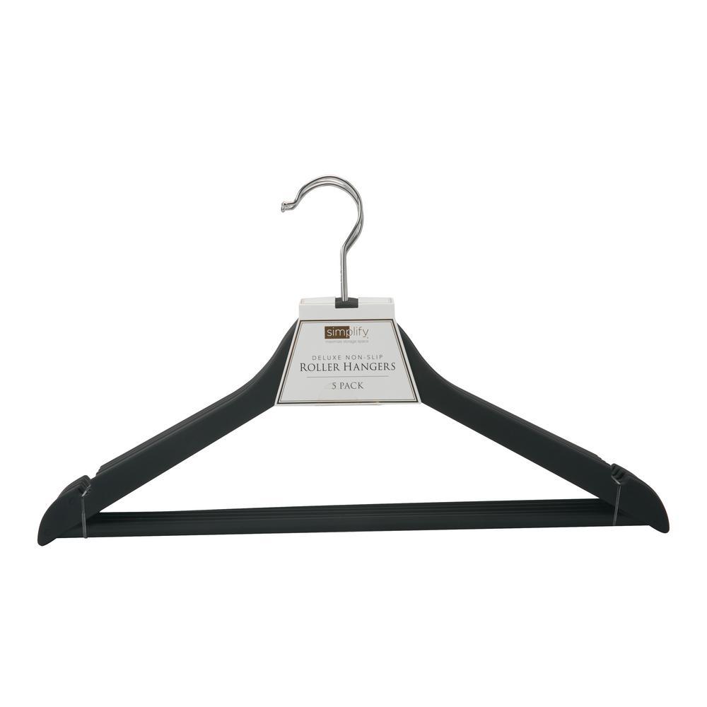 simplify rubberized wood like roller hanger 3 pack 23185. Black Bedroom Furniture Sets. Home Design Ideas