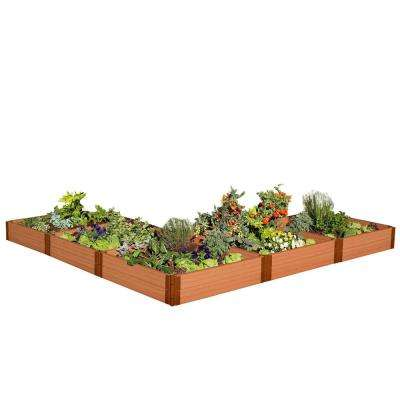 One Inch Series 12 ft. x 12 ft. x 11 in. L Shaped Raised Classic Sienna Composite Garden Bed Kit