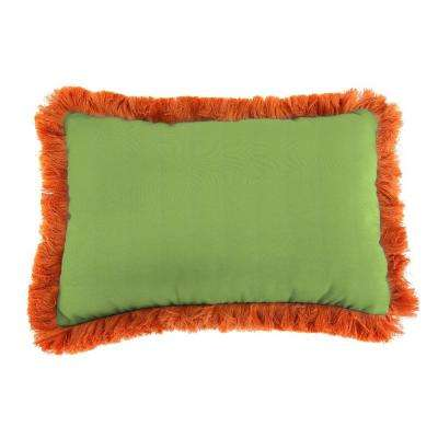 Sunbrella 19 in. x 12 in. Canvas Gingko Outdoor Throw Pillow with Tuscan Fringe