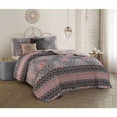 Celia 5-Piece Grey/Pink Queen Quilt Set