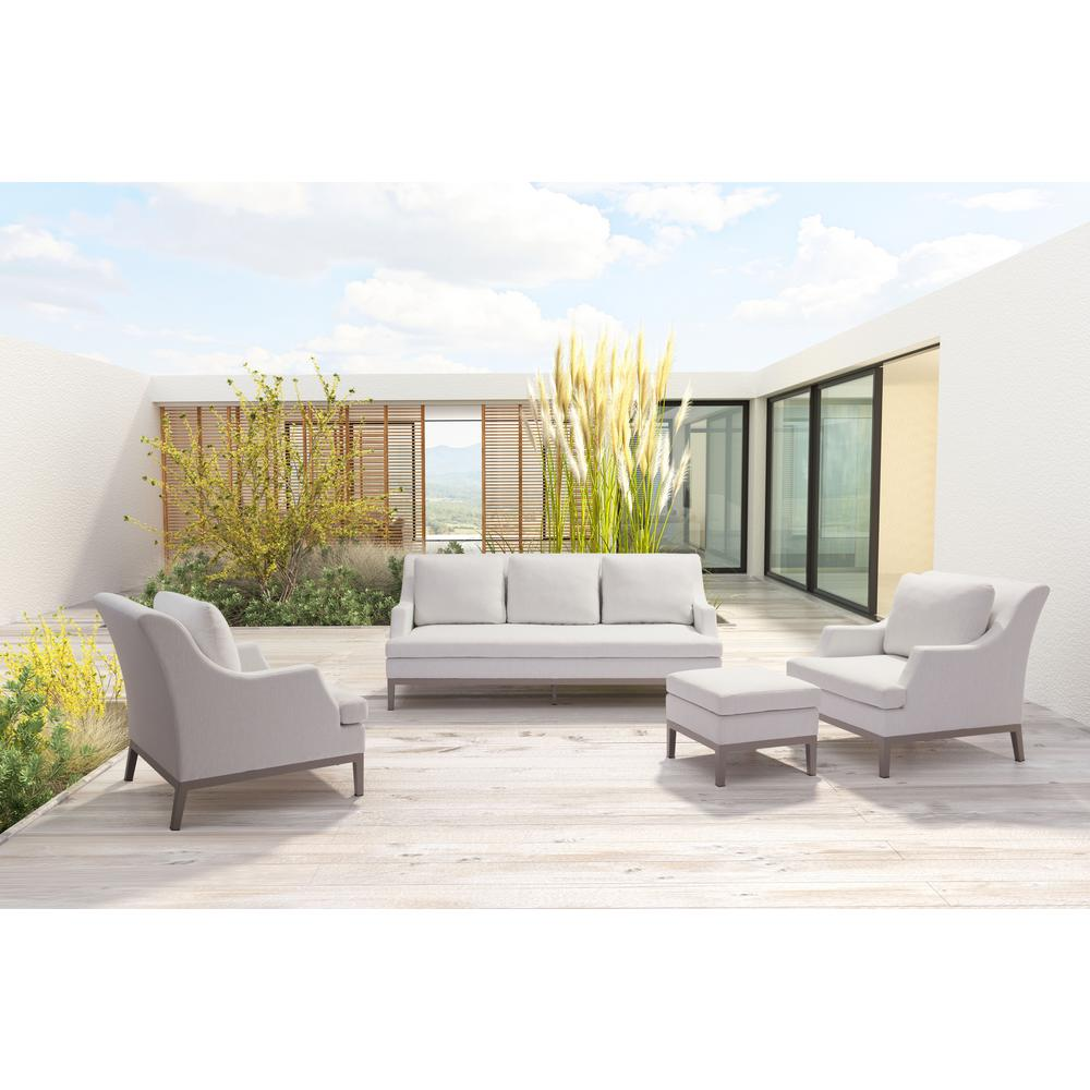 Zuo Aluminum Outdoor Sofa Champagne White Cushions