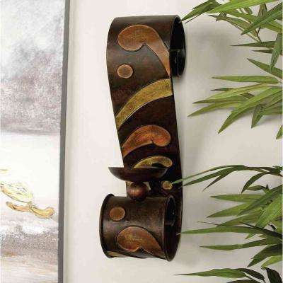 19 in. x 5 in. Scrolled Iron Candle Sconces with Metallic Brown Finish (Pair)