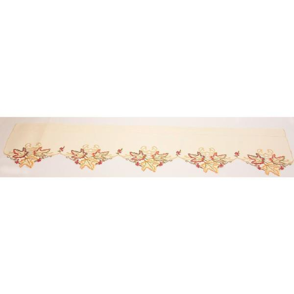 0.1 in. H x 60 in. W x 16 in. D Moisson Leaf Embroidered Cutwork Fall Window Treatment Window Scarf