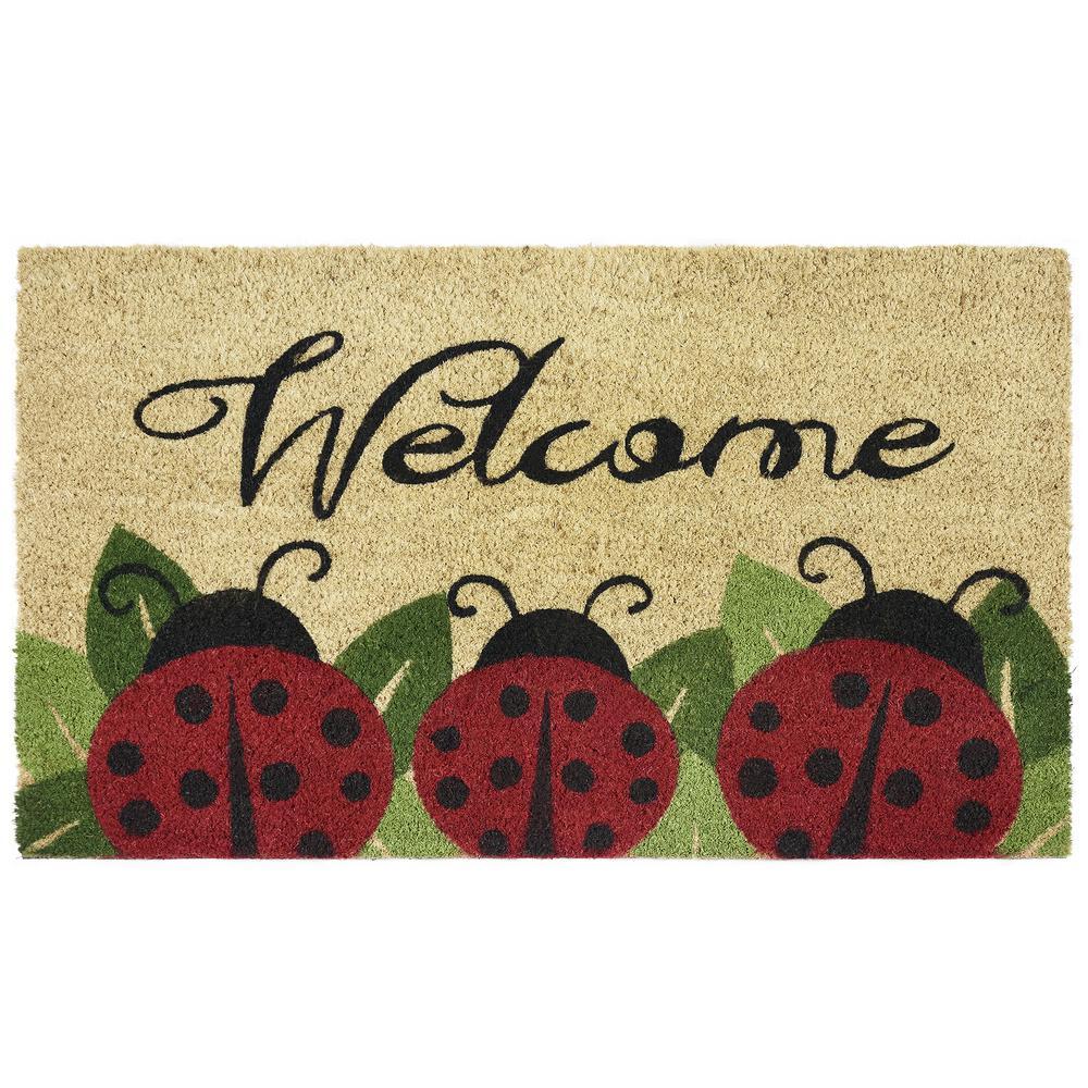 Ladybug 18 in. x 30 in. Printed Coir Door Mat