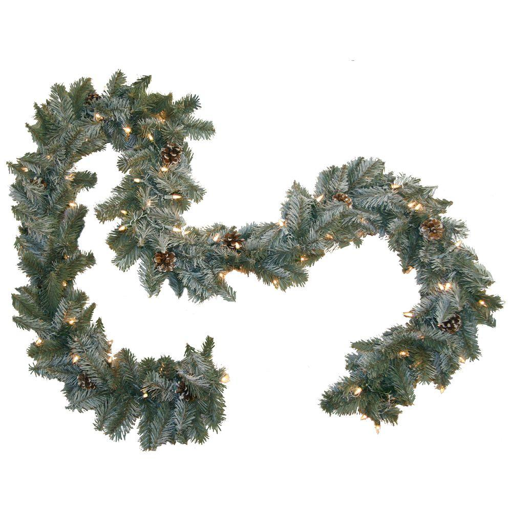 General foam ft pre lit siberian branch garland with
