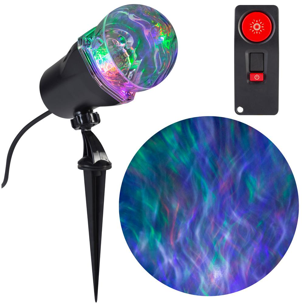LightShow 4-Light Remote Control Projection Stake Multi-Color LED Super Bright Ghost Flame 15-Programs (GOPlW)