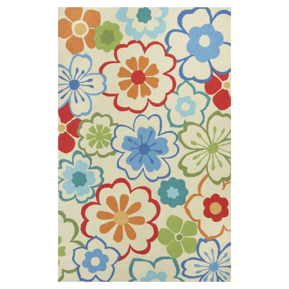 Kas Rugs Flowers at Play Ivory/Blue 3 ft. 3 in. x 5 ft. 3 in. Area Rug