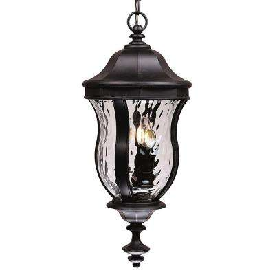3-Light Outdoor Hanging Black Lantern with Clear Watered Glass