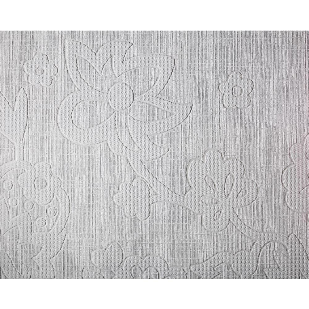 York Wallcoverings 57 sq. ft. Patent Decor Floating Blooms Paintable Dado Wallpaper